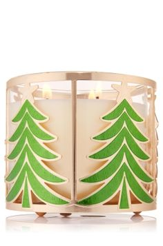 Enamel Tree - 3-Wick Candle Sleeve - Bath & Body Works - Oh Christmas tree! Celebrate your favorite fir with green enamel trees on a gorgeous gold sleeve. Pair with your favorite 3-Wick for a merry accent.