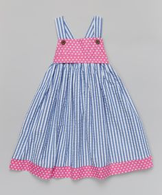 Another great find on #zulily! Blue & Pink Stripe Babydoll Dress & Sash - Toddler & Girls by Whimsical by Molly Pop Inc. #zulilyfinds