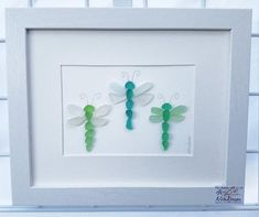 3 Sea Glass Dragonflies - a Wonderful Birthday Gift or Housewarming Gift Sea Glass Crafts, Sea Crafts, Sea Glass Art, Seashell Crafts, Sea Glass Jewelry, Sea Glass Beach, Rock Crafts, Sea Glass Display, Broken Glass Art