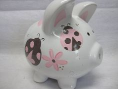 Personalized Piggy Bank Sweet Pink Ladybug and Dragonfly Wooden Piggy Bank, Pig Bank, Penny Bank, Personalized Piggy Bank, Pink Ladybug, Paint Your Own Pottery, Browns Gifts, Cute Piggies, This Little Piggy