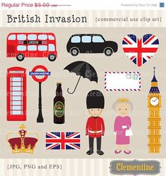 40% OFF SALE London clip art, London clipart, crown clip art images, British clip art for commercial use- Instant Download