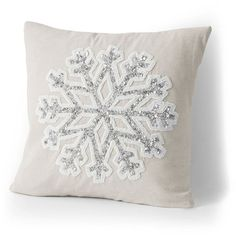 Lands' End 18x18 Holiday Decorative Pillows (64 CAD) ❤ liked on Polyvore featuring home, home decor, throw pillows, lands' end, snowflake throw pillow, beaded throw pillows and embroidered throw pillows