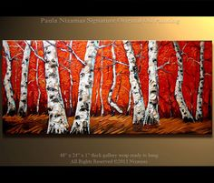 Oil Painting Birch Forest Original  48 x 24 Large by Artcoast, $420.00