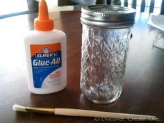 """Make your own """"mod podge"""". So this is pretty much the easiest thing ever. I actually have never used Mod Podge (I've only ever used this mix), but considering how much more expensive it is, I doubt I ever will! Anyways, all you need is regular Elmer's glue, water, and a jar. Add 1 part glue & 1 part water to jar (I just refilled the glue bottle to measure) & shake. That's it! This stuff is great."""