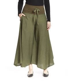 Another great find on #zulily! Khaki Green Butterfly Flax Palazzo Pants by Cheppu Himal #zulilyfinds