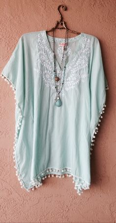 MINT GREEN MELISSA ODABASH TUNIC WITH EMBROIDERY AND TASSLES