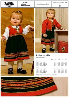 Bilderesultat for mønster til bunad Poncho Knitting Patterns, Knitted Poncho, Baby Knitting, Baby Barn, Knit Baby Dress, Baby Girl Dresses, Toddler Dress, Beautiful Babies, Kids And Parenting