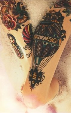 Gorgeous hot air balloon tattoo with roses, vintage, steam punk