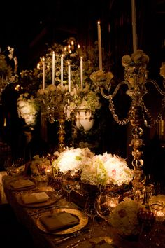 High candle flower floral center piece table wedding reception dinner party baroque renaissance table