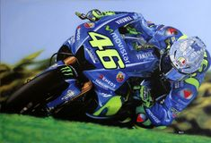 Airbrushed painting of Valentino Rossi on a canvas. I used water acrylics and automotive urethanes. The painting is for sale. For more info please send me a message. F1 Racing, Drag Racing, Vr46, Air Brush Painting, Nissan 370z, Valentino Rossi, Lamborghini Gallardo, Mercedes Amg, Motogp