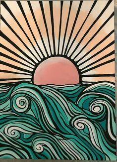 Items similar to Graphic Ocean Painting on Etsy - Aesthetic painting ideas - Aesthetic Aestheticpaintingideas Etsy Graphic Ideas Items ocean Painting similar # Art Inspo, Painting Inspiration, Painting & Drawing, Watercolor Paintings, Wave Drawing, Ocean Paintings, Body Painting, Easy Paintings, Indian Paintings