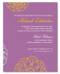 Mehndi Insert cards ~ Sacred Colors - Eco-chic with a timeless simple and sweet design. Colorful and classic, Sacred Colors is perfect for an Indian themed wedding. Indian Wedding Invitations, Wedding Invitation Card Template, Wedding Templates, Invitation Wording, Invite, Digital Invitations, Card Templates, Wedding Tips, Wedding Cards