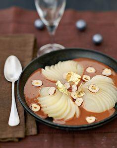 Soupe de poires au praliné