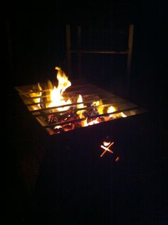 With the grill.  Urban Flame flatpack fire