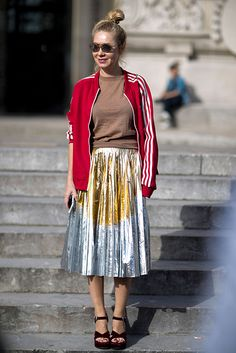 Street Style_ authentic track jacket paired with t-shirt & pleated metallic midi skirt || Saved by Gabby Fincham ||
