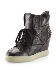 Billie Perforated Wedge Sneaker, Black by Ash at Neiman Marcus Last Call.
