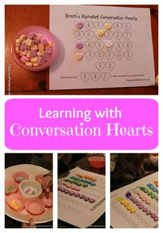 Did your child get a backpack full of Valentine candy? Turn it into a great teaching tool with these Learning with Conversation Hearts activities. Free printable for sorting, graphing and letter identification, perfect for preschool