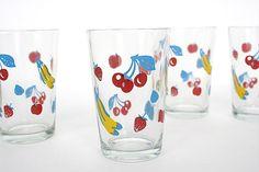 Fruit Glasses Vintage Glassware Beverage Juice Glasses Fruit Design - Retro Kitchen