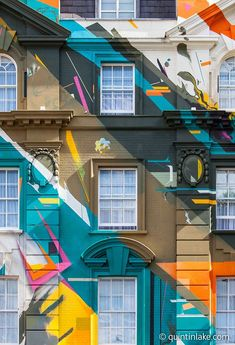 """""""Marmite"""" a graffiti mural painted on the classical facade of Megaro Hotel opposite St Pancras station, London, 2012. The mural was designed and painted by four members of street art collective, Agents of Change. #streetart jd"""