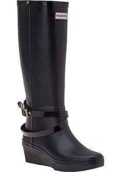 Hunter Boots - Andora Wedge Rain Boot Black