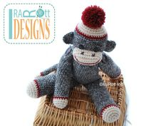 Amigurumitogo Sock Monkey : Classic twist sock monkey hat and inch sock monkey doll pdf