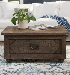 All the time-honored beauty and charm of a unique antique shop find minus the boutique price tag. Plus, a spacious drawer makes our exclusive Sierra Coffee table perfect for tucking away pillows or a throw. Love the hand carved and distressed details. Coffee Table With Drawers, Cool Coffee Tables, Farmhouse Coffee Tables, Farmhouse Decor, Country Farmhouse, Dog Sofa Bed, Wood Parquet, Rustic Hardware, Chair And A Half