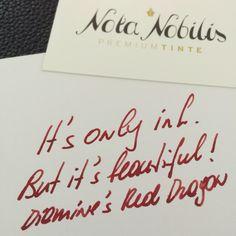Diamine's Red Dragon - it's only ink, but it's beautiful!  Dieses Rot verzaubert. Es ist ungemein ausdrucksstark, intensiv und unwiderstehlich kräftig - eben wie Drachenblut!  Sichern Sie sich Ihr persönliches Glas gleich jetzt auf www.nota-nobilis.at!  #legend #luxury #Premiumtinte #Premium #reddragon #Diamine #drache #drachenblut #success #erfolg #ink #tinte #Füller #Füllfeder #fountainpen #notiz #notebook Place Cards, Success, Place Card Holders, Beautiful, Note, Dyes, Paper, Dragon, Corning Glass