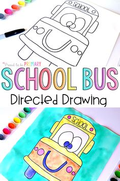Check this adorable back to school bus directed drawing art activity for kids. It includes easy DIY step by step instructions that you can download for FREE to use in your classroom today! These would make the perfect bulletin board for back to school season. #drawing #drawingforkids #kidsart #schoolbus #howtodraw