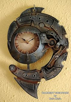 Steampunk Spiral Clock. via Etsy. by Diarment Creations
