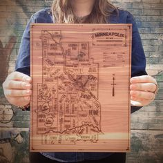 (9) Fab.com | Minneapolis Map 11.5x14.25 - wood laser cut - other cities available!