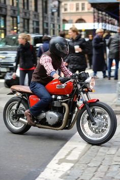 Could almost be me...Same Red Wing boots I have, Levi 501s, and thats the helmet my wife has...