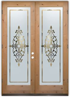 Barcelona Double Entry Doors Hand-crafted, sandblast frosted and 3D carved. Available as interior or entry door in 8 woods and 2 fiberglass. Slab door or prehung any size, or as glass insert only. Our fun, easy to use online Glass and Door Designer gives you instant pricing as YOU customize your door and glass! When you're all finished designing, you can place your order right there online! Doors ship worldwide from Palm Desert, CA Door Design Interior, Frosted Glass Door, Glass Etching Designs, Glass Hinges, Glass Decor, Glass Design, Pooja Room Door Design, Glass Doors Interior, Sandblasted Glass Design