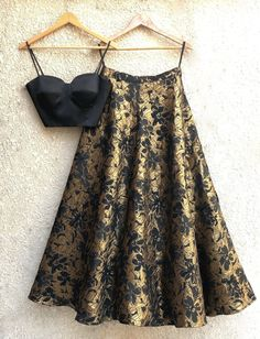 Black Bustier & Black Gold Lehenga Click Pic for the Hottest Lingerie Online Dress Indian Style, Indian Dresses, Indian Wedding Outfits, Indian Outfits, Bridal Outfits, Bridal Dresses, Indian Attire, Indian Wear, Indian Party Wear