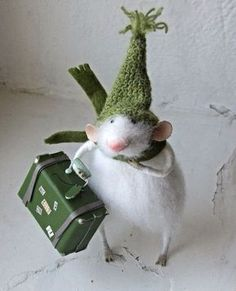 Mouse with a green stocking hat