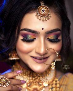 Beautiful Indian Brides, Bridal Portraits, Bridal Looks, Holi, Septum Ring, Tropical, Gallery, Makeup, Earrings