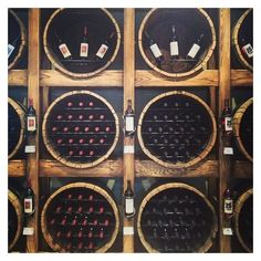 Potential Focal Wall in Back Room? (From the Grand-Pre winery in Nova Scotia, Canada. Cave A Vin Design, Cellar Inspiration, Home Wine Cellars, Bar A Vin, Wine Barrel Furniture, Deco Restaurant, Wine Cellar Design, Wine Tasting Room, Wine Display
