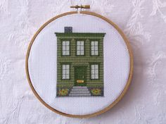 PDF Pattern: Green Victorian Townhouse cross by TheCompassNeedle