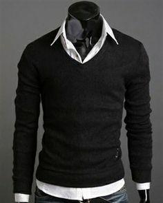 Black Solid Pullover Long Sleeves V- Neck Men Sweater #men #smart #casual