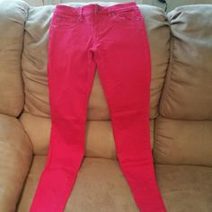 Red junior express jeans size 0 Great condition red skinny jeans by express Express Pants Skinny