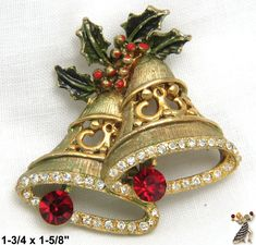 Christmas Pin: Vintage Christmas Bells Pin, Christmas Bells - Antique & Collectible Exchange