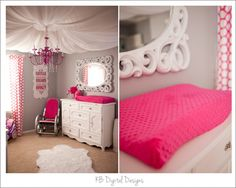 I love everything about this nursery! the mirror, the chandelier, the rocking chair, the tool, its all beautiful!