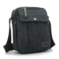 Ecokaki(TM) Canvas Small Messenger Bag Casual Shoulder Bag Travel Organizer Bag Multi-pocket Purse Handbag Crossbody Bags, Black