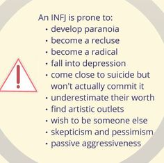 INFJ the dark side. Sad but sometimes true. I have definitely struggled with many of these at different times!