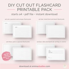 Emma's Studyblr — Free Diy Flashcards Printable Pack I've for Free Printable Blank Flash Cards Template - Professional Template Ideas Flash Card Template, Free Printable Flash Cards, Templates Printable Free, Free Printables, Banner Template, Planner Free, Study Planner, Studyblr, Study Flashcards