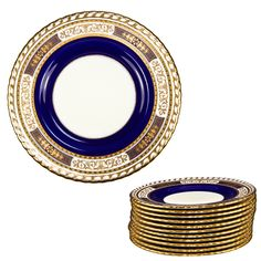 "Set: 11 Minton for Tiffany & Co. 9"" Cobalt & Raised Gold Plates circa 1889"