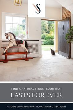 Choose a natural stone flooring that will stand the test of time, such as the Paris Casa antiqued limestone used by our client. This deep blue tone tile works wonderfully with the stone floor which is part of our range of hand-aged limestone floors. Find out more by visiting our blog. The range include kitchen floor tiles, great for interior and developer inspiration. #naturalstoneconsulting #naturalstone #stonetilefloors Flagstone Flooring, Limestone Flooring, Natural Stone Flooring, Farmhouse Interior, Farmhouse Decor, Farmhouse Kitchens, Grand Homes, Flooring Options, Kitchen Flooring