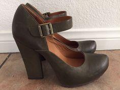 Kork Ease CACU13 Khaki Green Leather Mary Jane Rubber Sole Heels Size 7.5/38.5    eBay