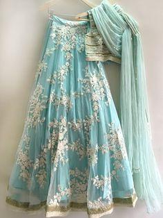 Powder blue lace and sequin lehenga custom made available in custom colors - Abiti indiani - Jupe Floral Lehenga, Lehenga Choli, Anarkali, Silk Dupatta, Sharara, Party Wear Lehenga, Party Wear Dresses, Lehenga Wedding, Wedding Dresses