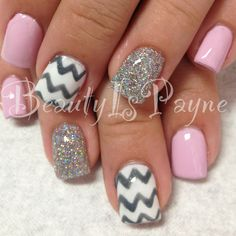A pretty design for shellac nails...maybe without the pink, all silver glitter with a couple chevron white and silver.