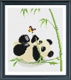 Baby Panda Cross Stitch Pattern, Instant Download, Free shipping, Cross Stitch…